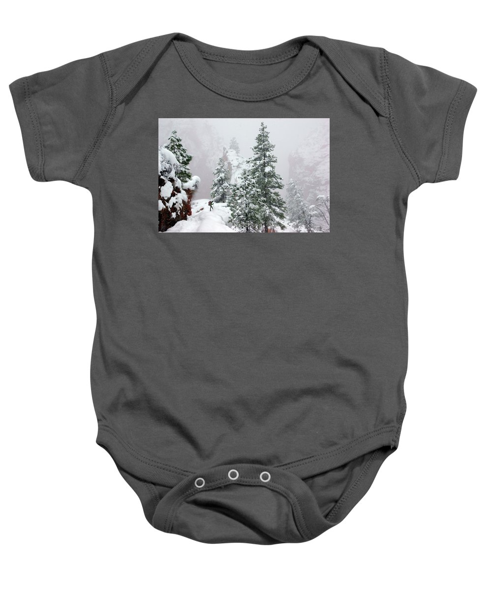 Zion Baby Onesie featuring the photograph Contemplating The Hike by Daniel Woodrum