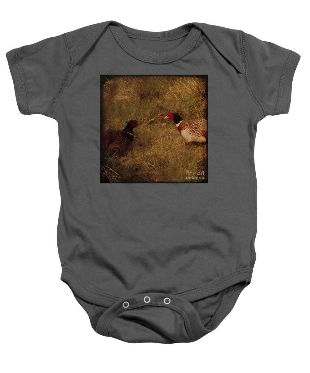 Pheasant Baby Onesie featuring the photograph Conversations by Angel Ciesniarska