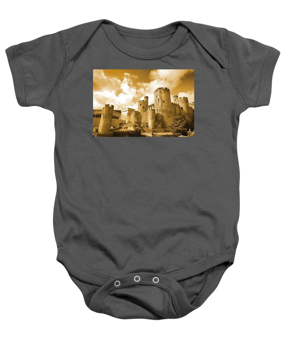 Castle Baby Onesie featuring the photograph Conwy Castle And The Telford Suspension Bridge North Wales by Mal Bray