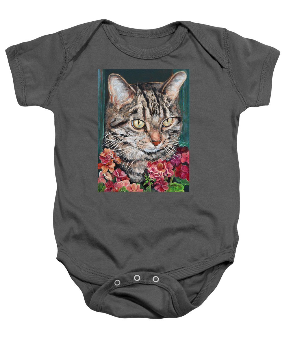 Cat Baby Onesie featuring the painting Cooper The Cat by Portraits By NC