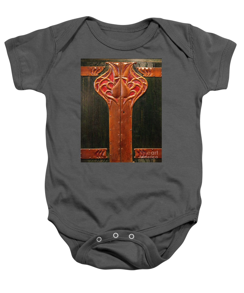 Art Deco Baby Onesie featuring the photograph Copper Doors by Dean Triolo