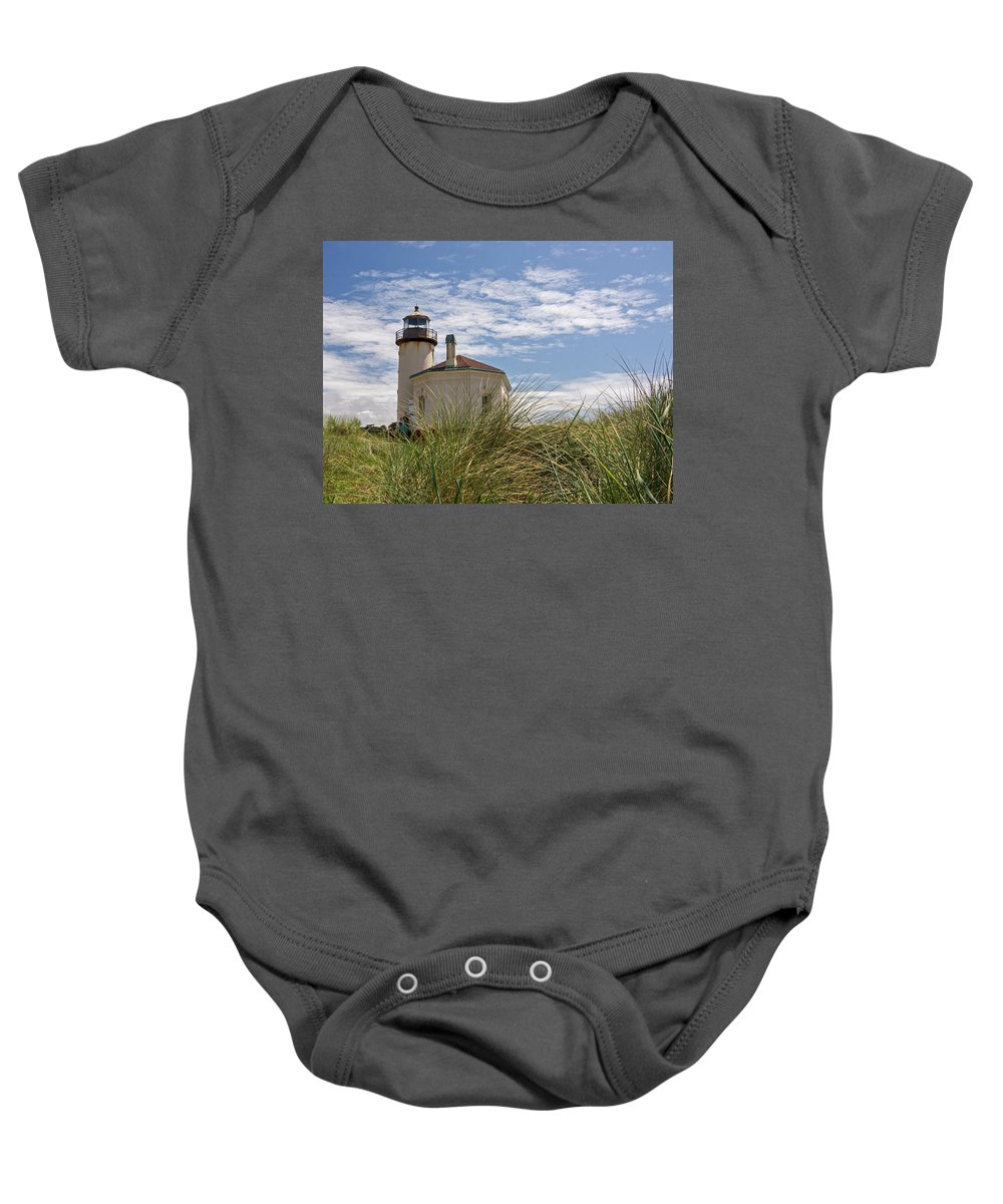 Coquille River Lighthouse Baby Onesie featuring the photograph Coquille Lighthouse H by Inge Riis McDonald