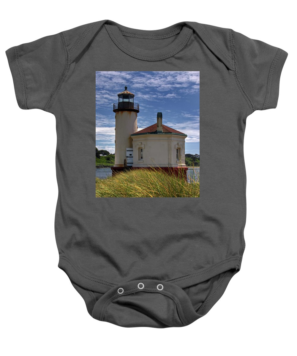 Coquille River Lighthouse Baby Onesie featuring the photograph Coquille Lighthouse V by Inge Riis McDonald