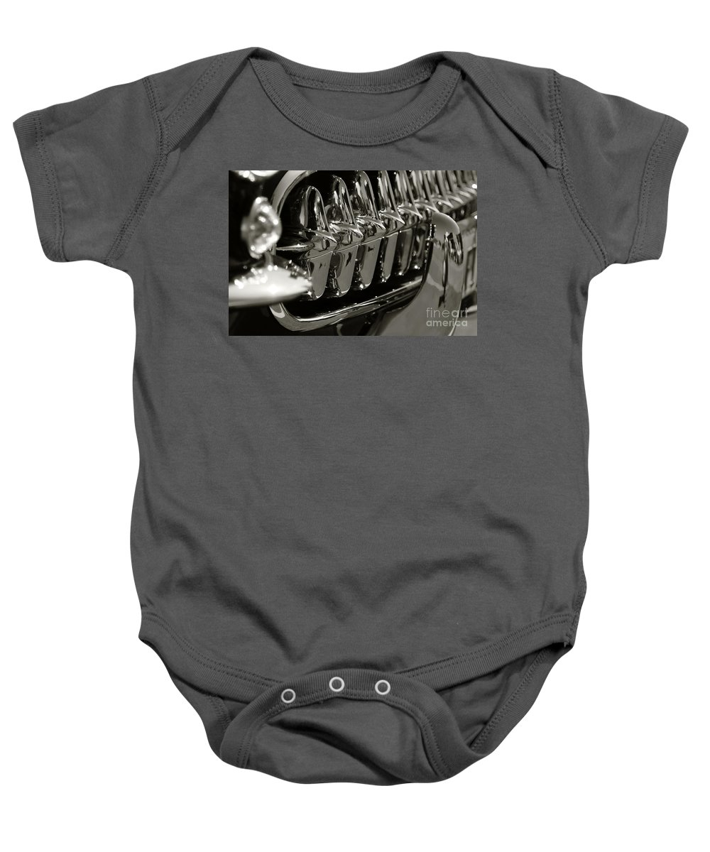 Corvette Baby Onesie featuring the photograph Corvette Grill by Dennis Hedberg
