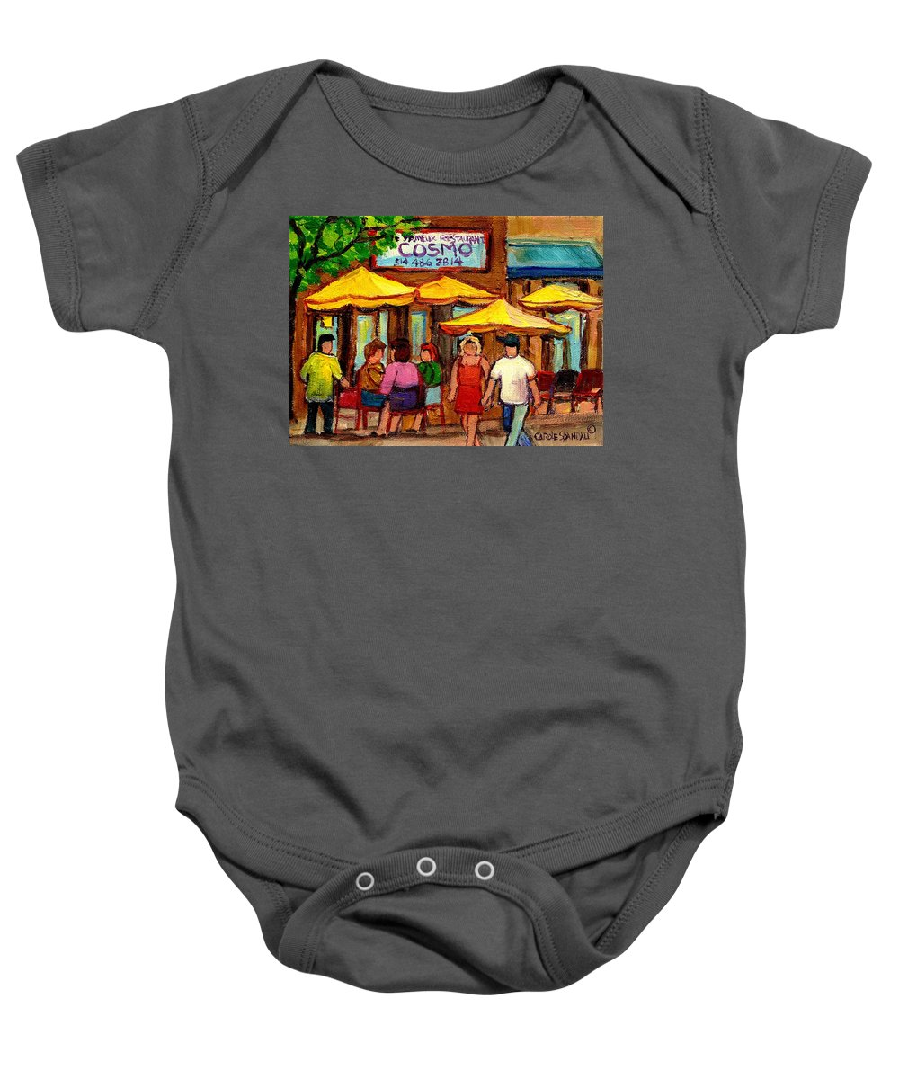 Cosmos Restaurant Baby Onesie featuring the painting Cosmos Fameux Restaurant On Sherbrooke by Carole Spandau