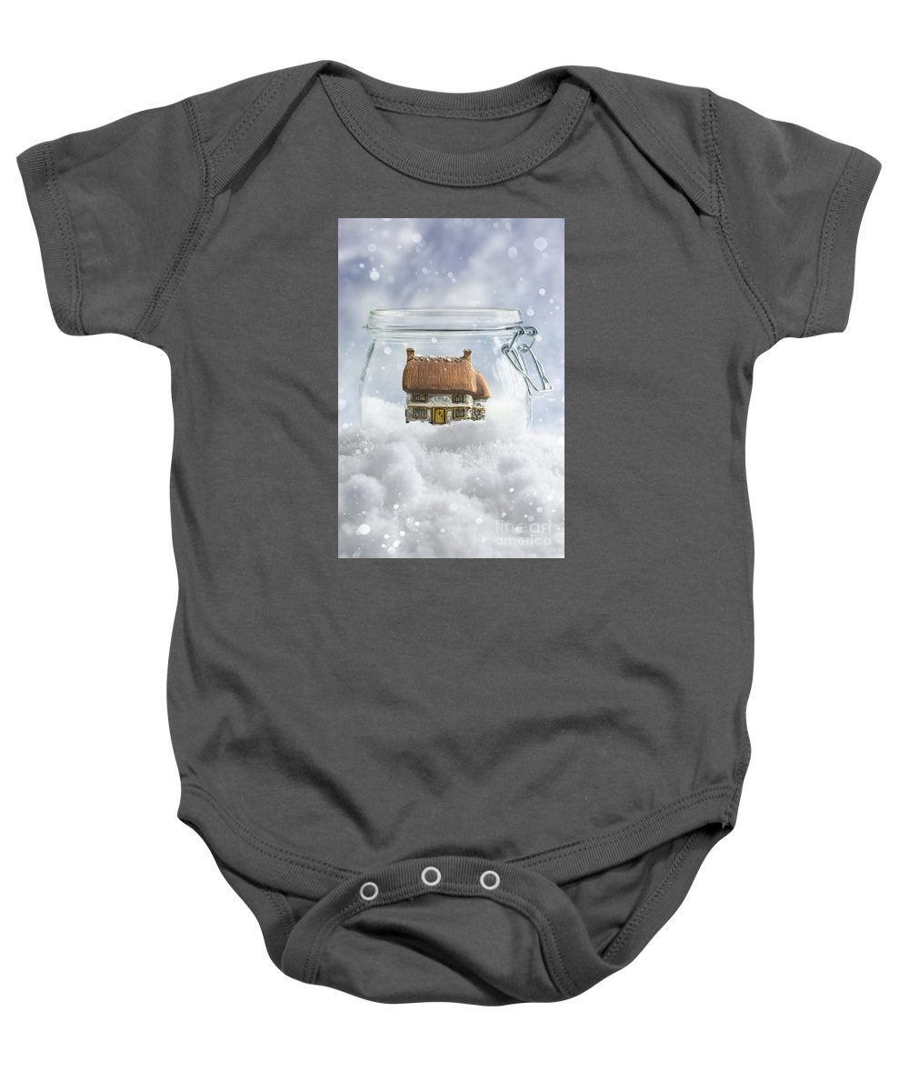 Cottage Baby Onesie featuring the photograph Cottage In Snow by Amanda Elwell