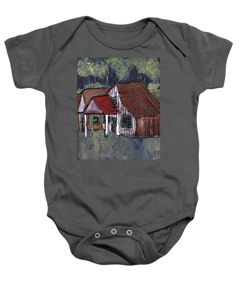 Cottage Baby Onesie featuring the painting Cottage In The Woods by Wayne Potrafka