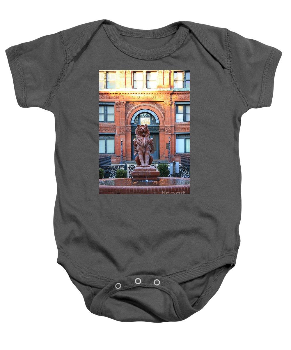 Savannah Baby Onesie featuring the photograph Cotton Exchange Building In Savannah by Carol Groenen