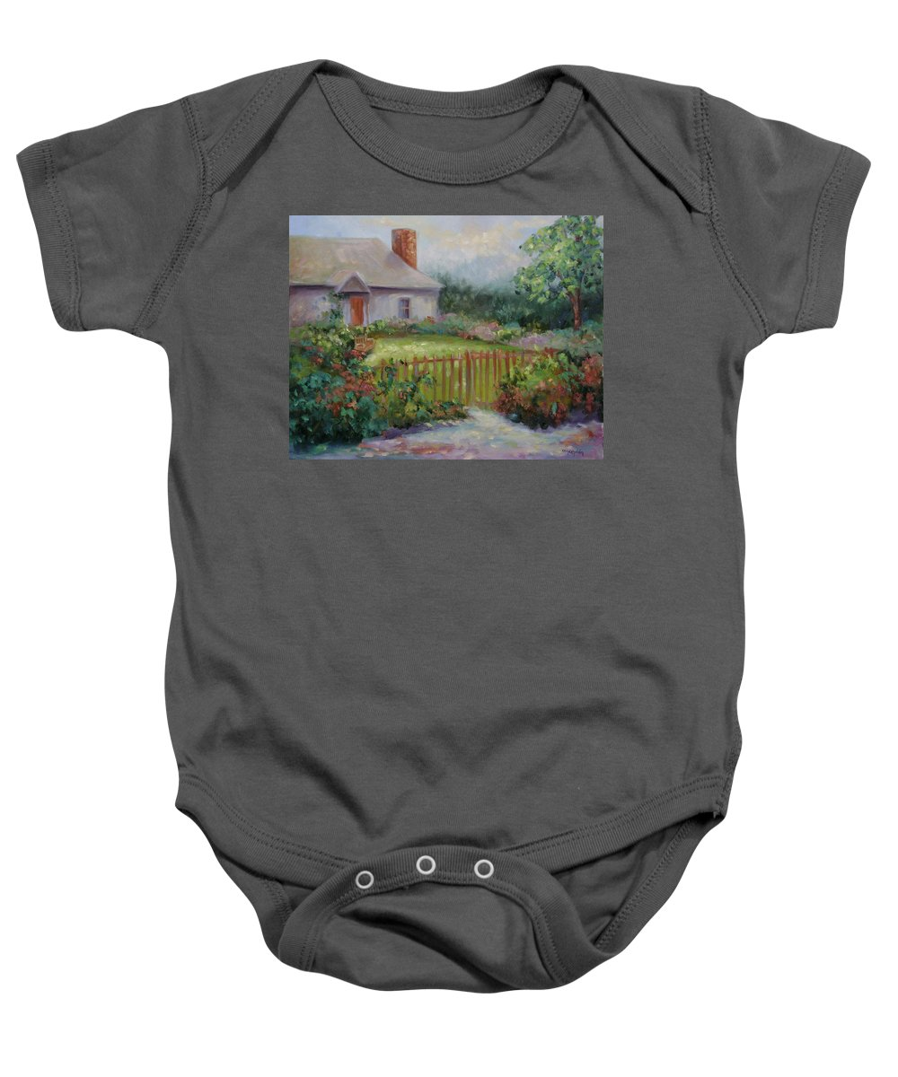 Cottswold Baby Onesie featuring the painting Cottswold Cottage by Ginger Concepcion