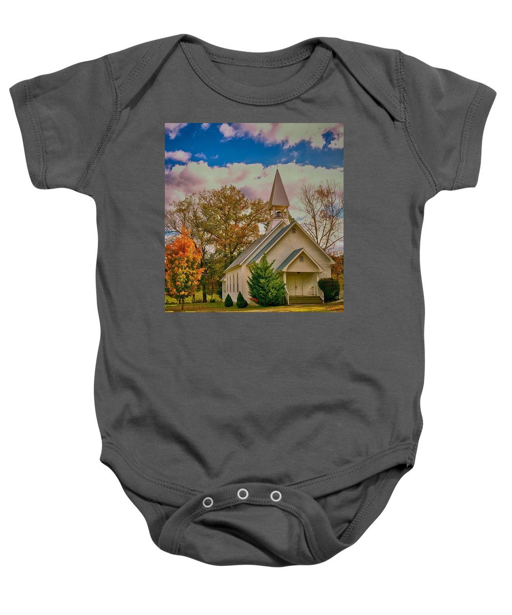 Landscape Baby Onesie featuring the photograph Country Church by John Prickett