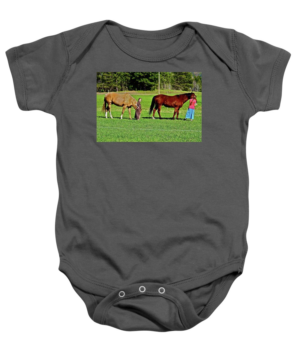 Girls Baby Onesie featuring the photograph Country Girls by Diana Hatcher