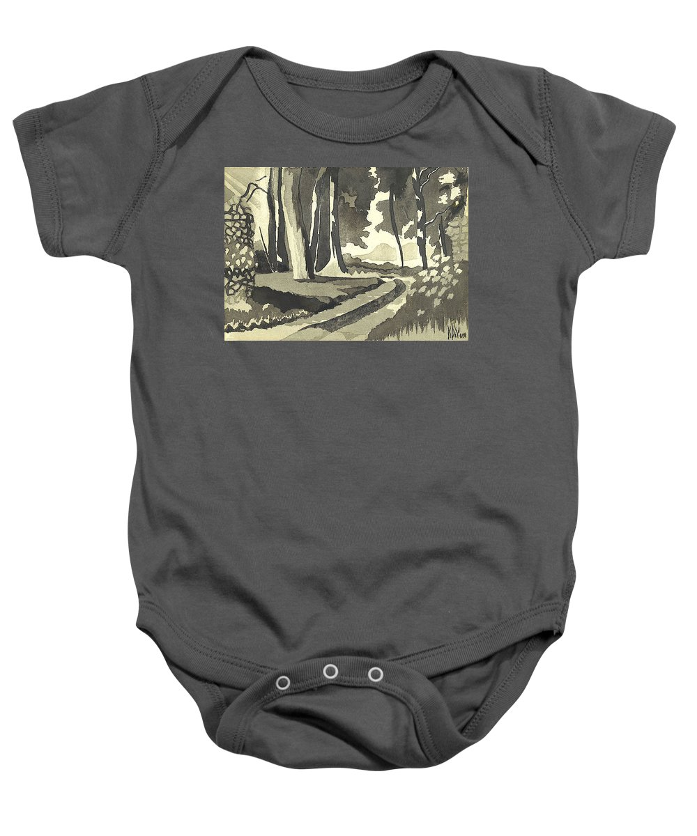 Rural Baby Onesie featuring the painting Country Lane In Evening Shadow by Kip DeVore
