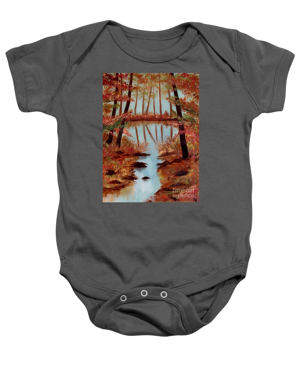 Fall Painting Baby Onesie featuring the painting Country Reflections by Leslie Allen
