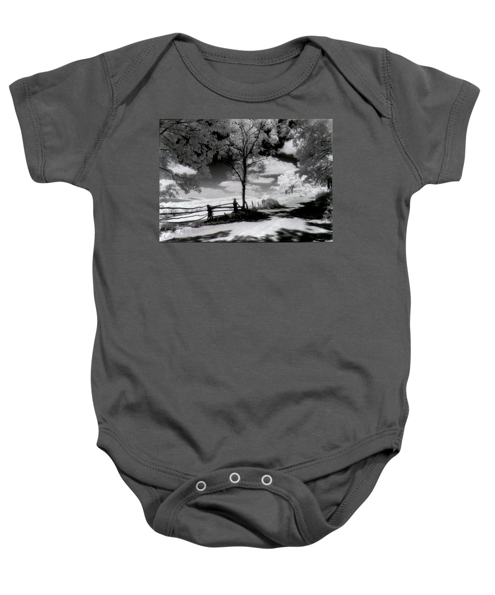 Photography Baby Onesie featuring the photograph Country Road by Timothy Bischoff