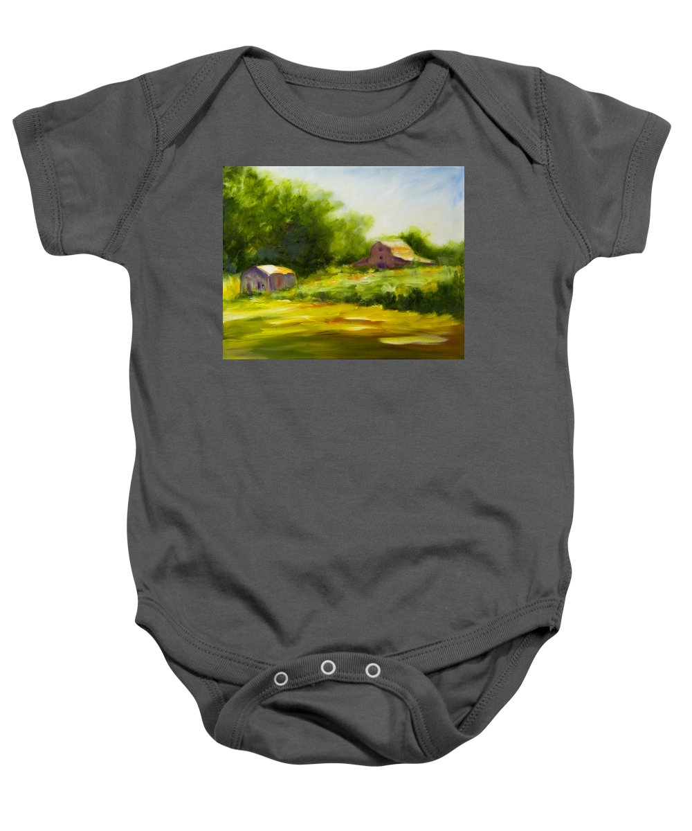 Landscape In Green Baby Onesie featuring the painting Courage by Shannon Grissom