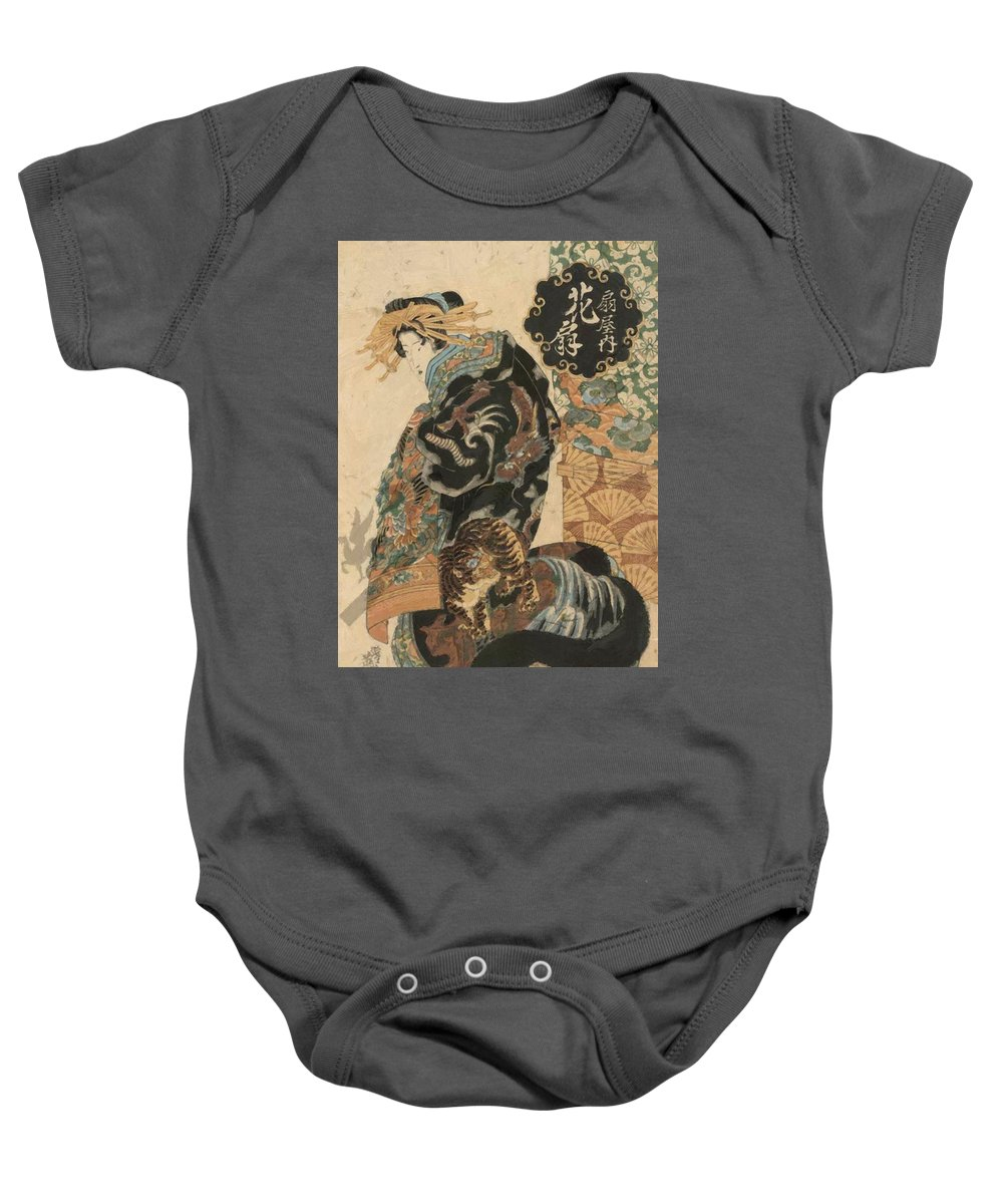 Courtesan Baby Onesie featuring the painting Courtesan Hanaogi From The Ogi House 1825 by Eisen Keisai