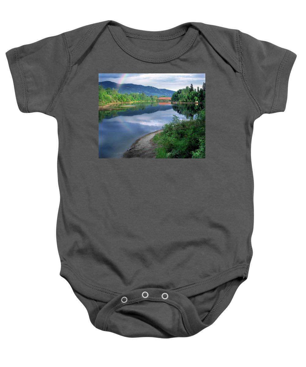 Covered Bridge Baby Onesie featuring the photograph Covered Bridge by Leland D Howard