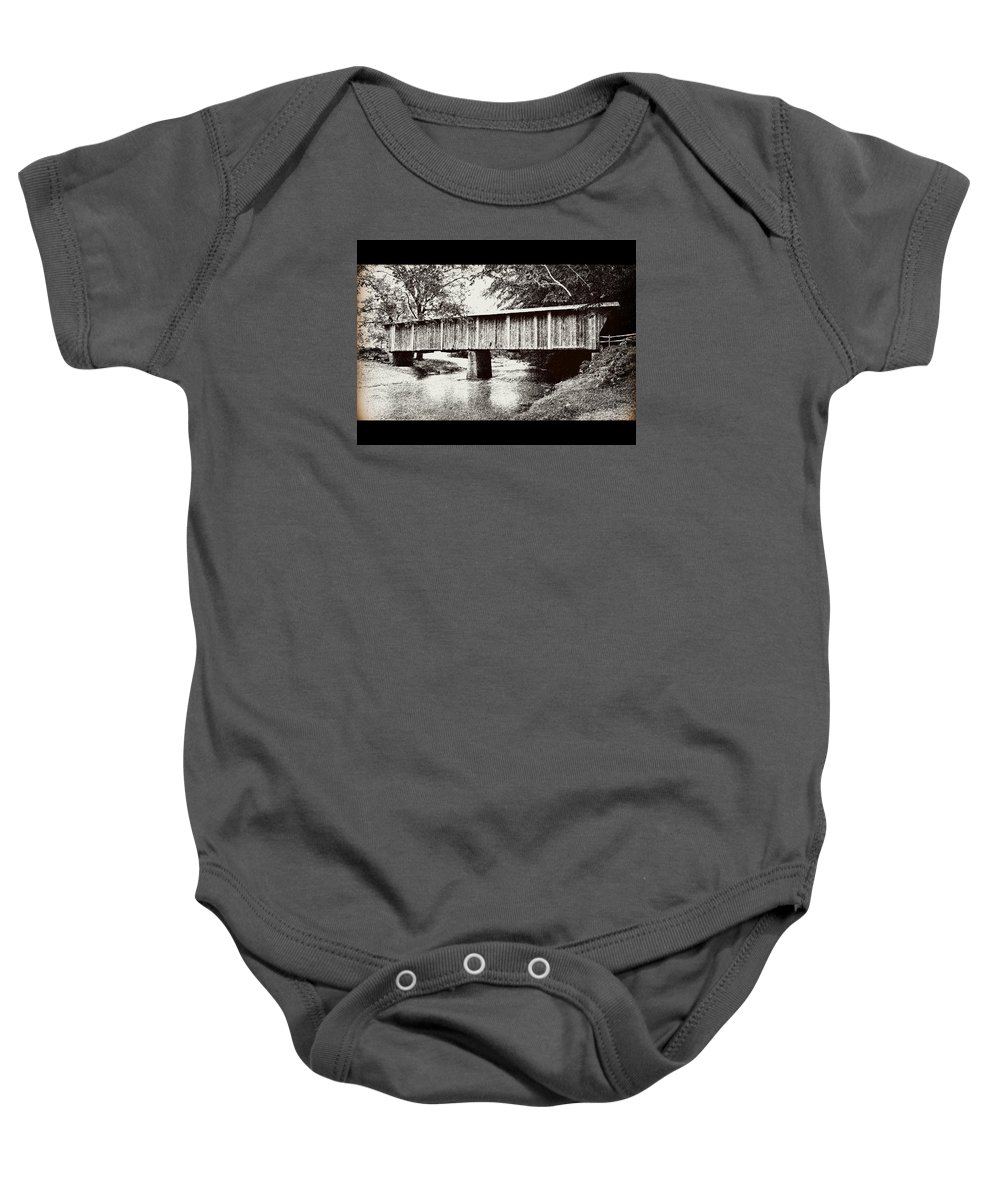 Virginia Covered Bridge Baby Onesie featuring the mixed media Covered Bridge by Eric Liller