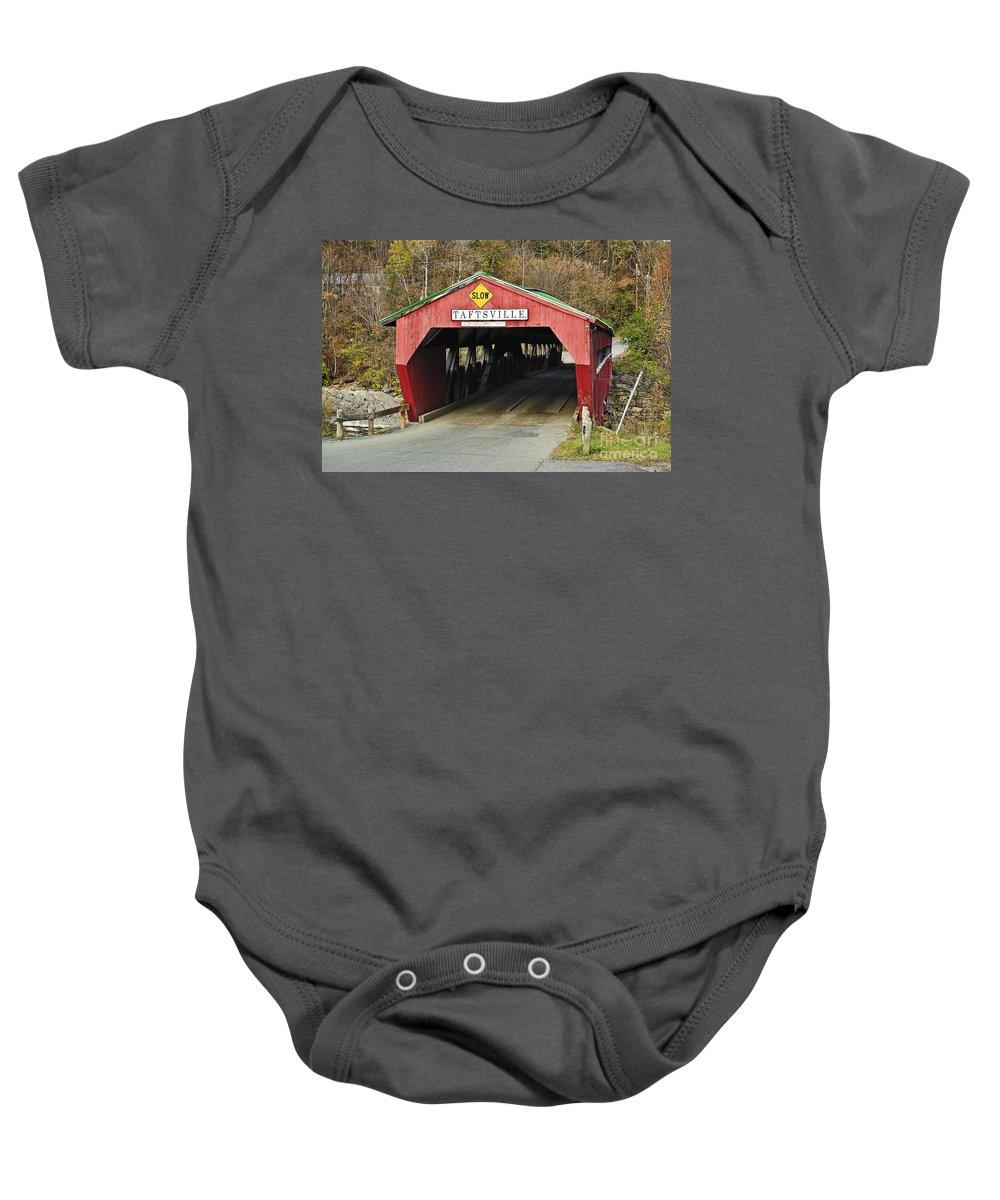 Americana Baby Onesie featuring the photograph Covered Bridge Vermont by John Greim