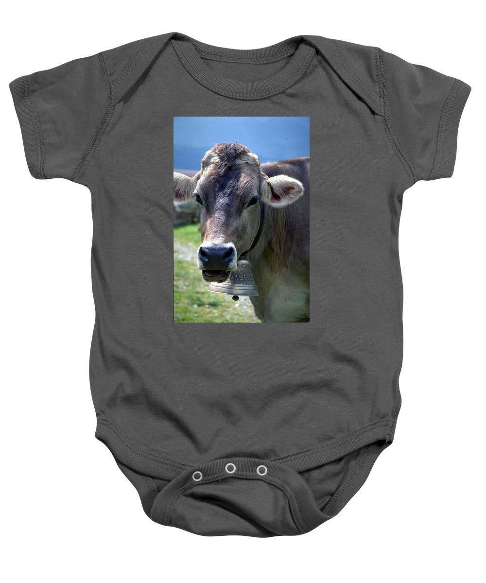 Cow Baby Onesie featuring the photograph Cow by Flavia Westerwelle