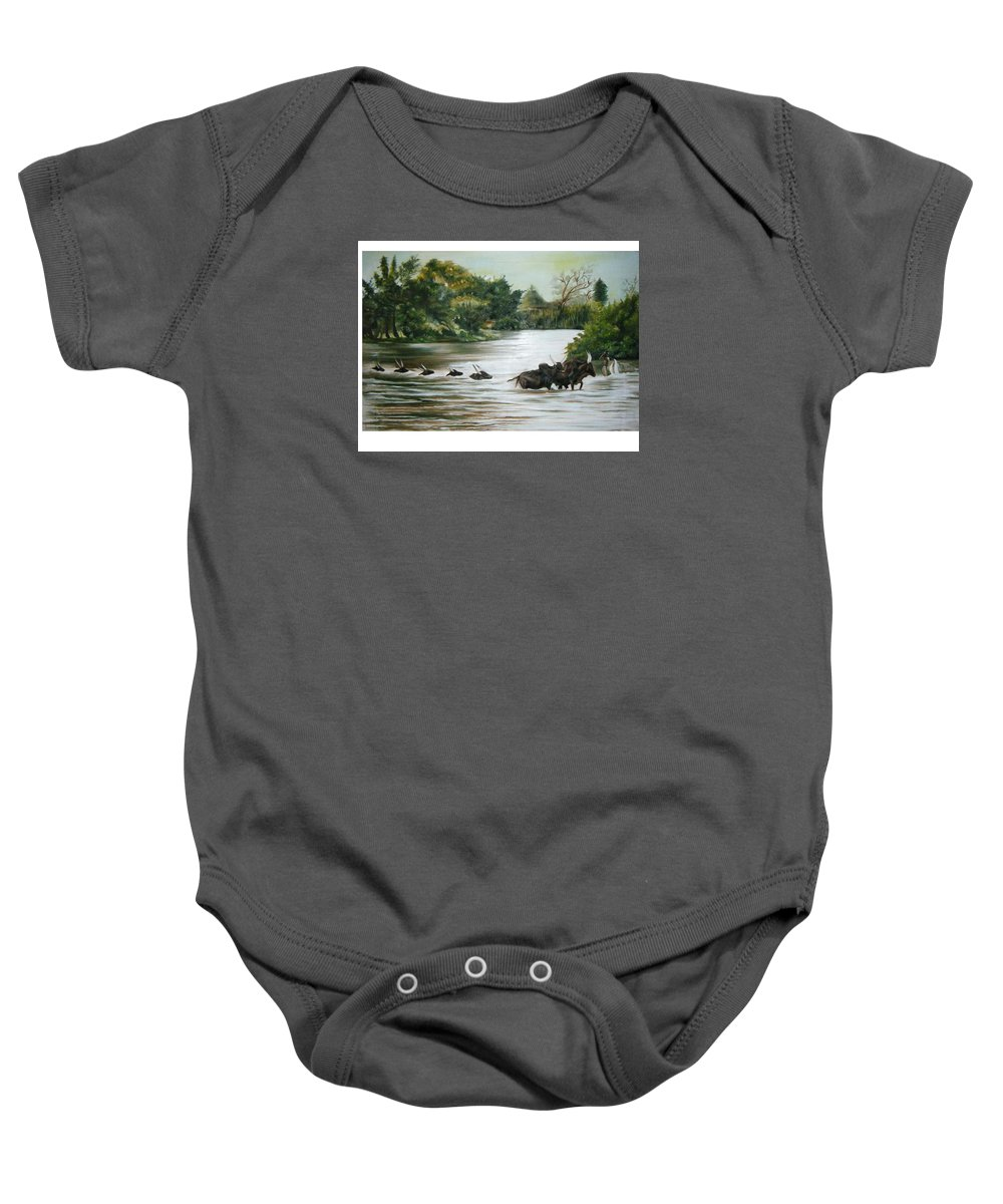Cows Baby Onesie featuring the painting Cow Habitant by Olaoluwa Smith
