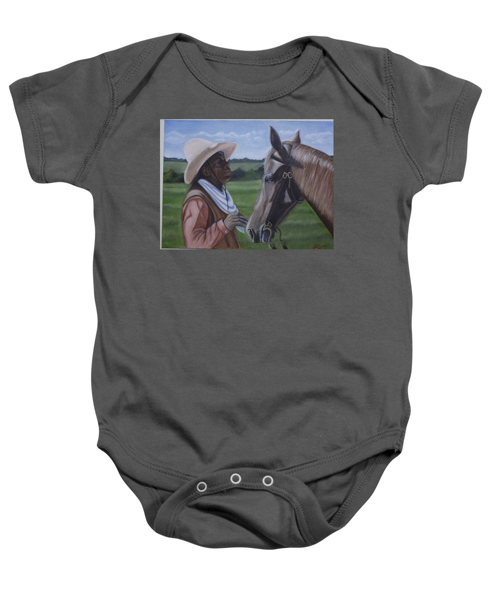 Portrait Baby Onesie featuring the painting Cowboy2 by Toni Berry