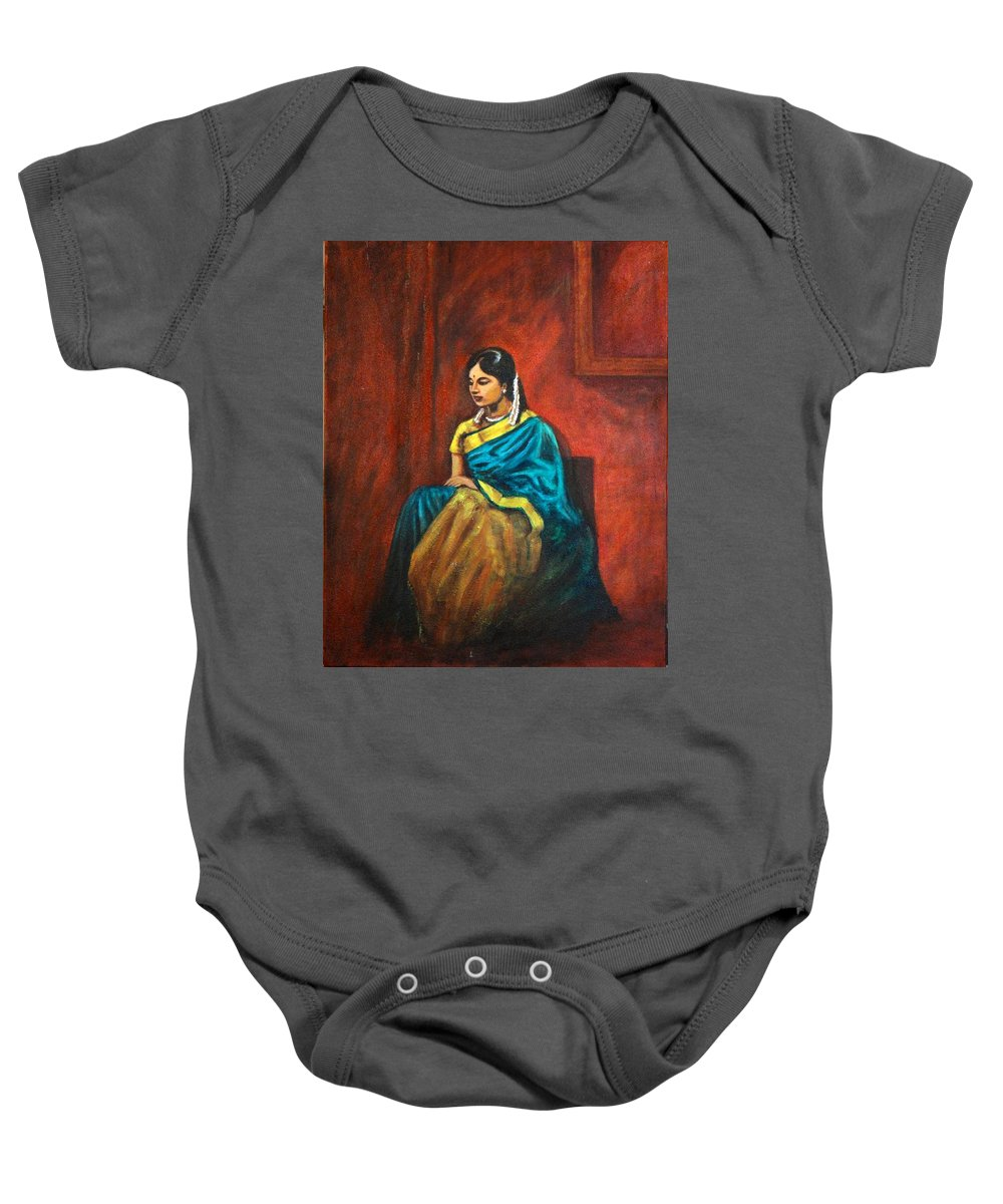 Coy Baby Onesie featuring the painting Coy by Usha Shantharam
