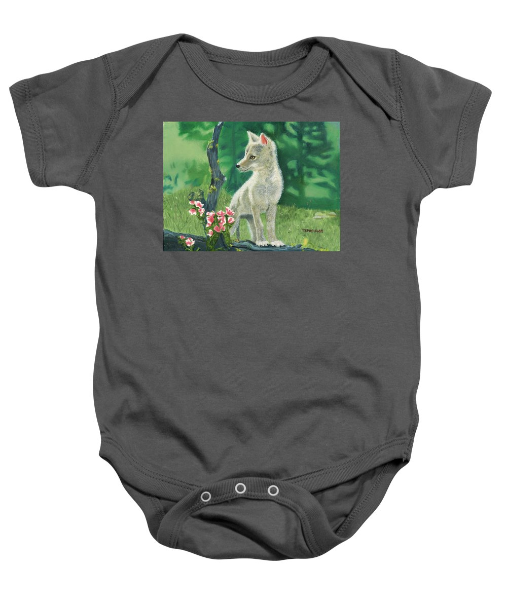 Dog Baby Onesie featuring the painting Coyote Pup by Terry Lewey