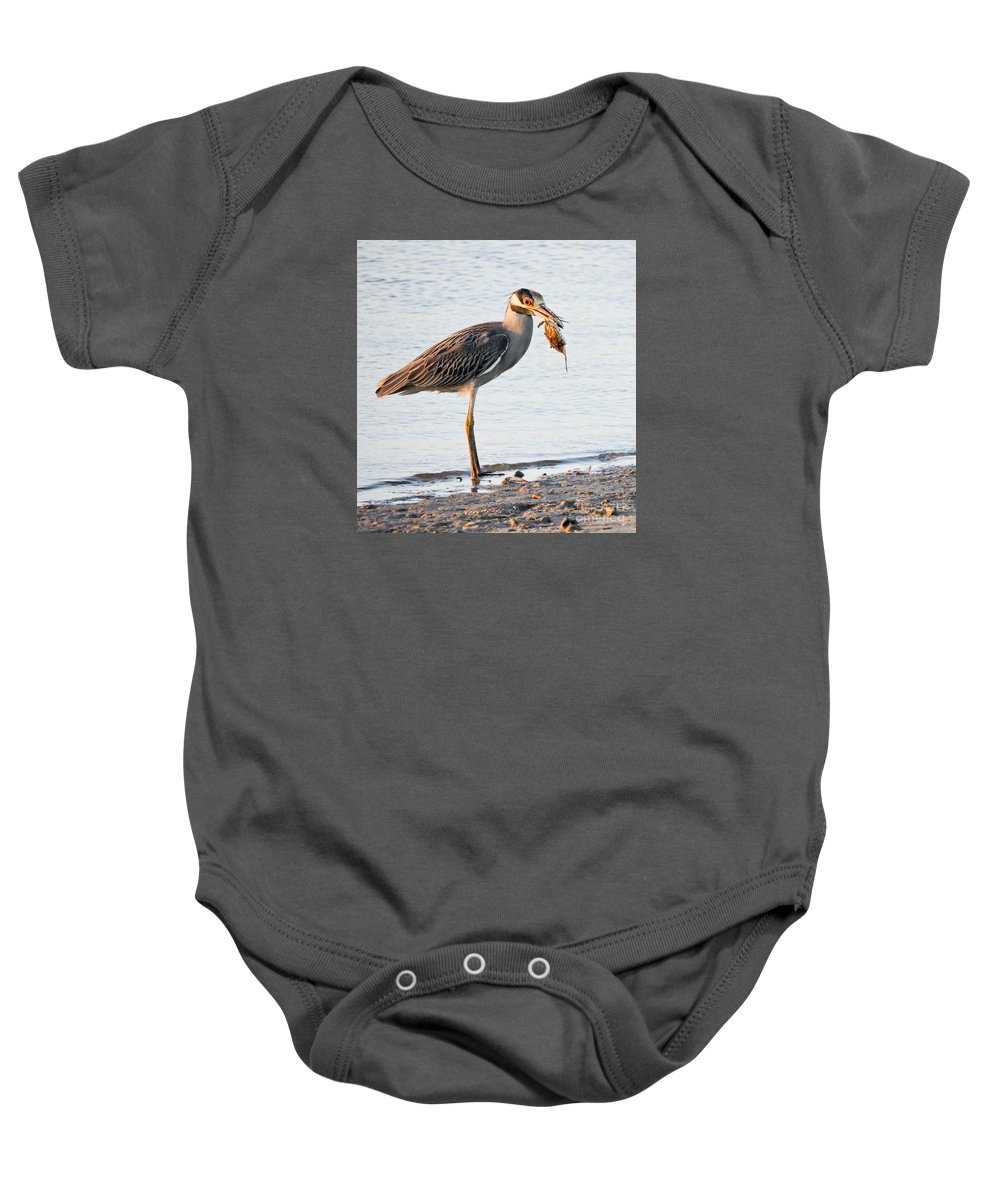 Night Heron Baby Onesie featuring the photograph Crab Dinner by Marilee Noland