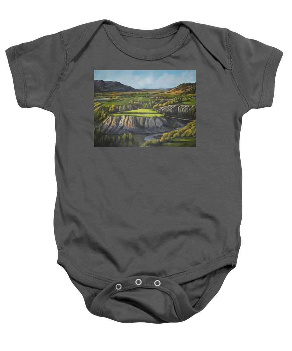 Golf Baby Onesie featuring the painting Craig's Course by Melody Horton Karandjeff