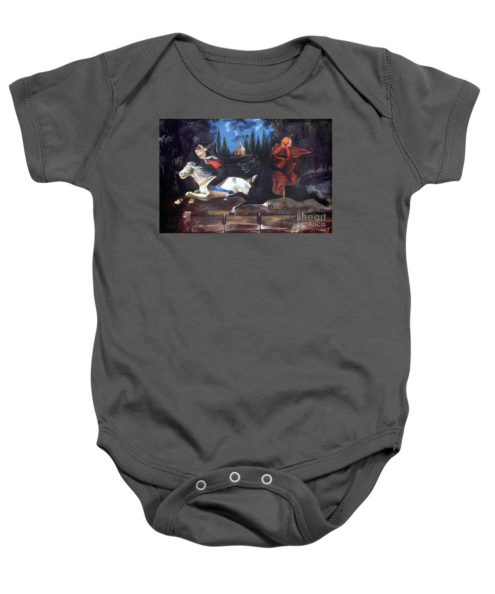 1835 Baby Onesie featuring the photograph Crane And Horseman by Granger