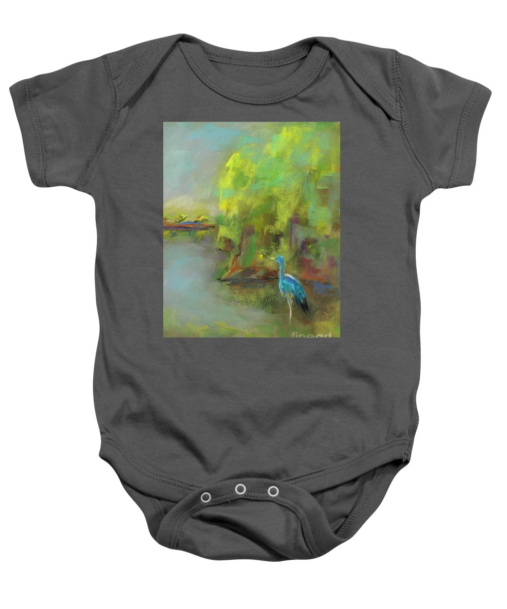 Ponds Baby Onesie featuring the painting Crane At Golden Ponds by Frances Marino