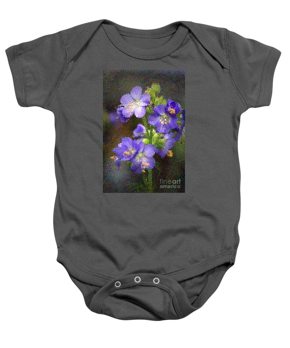 Flowers Baby Onesie featuring the photograph Craquelure On Blue by Deborah Benoit