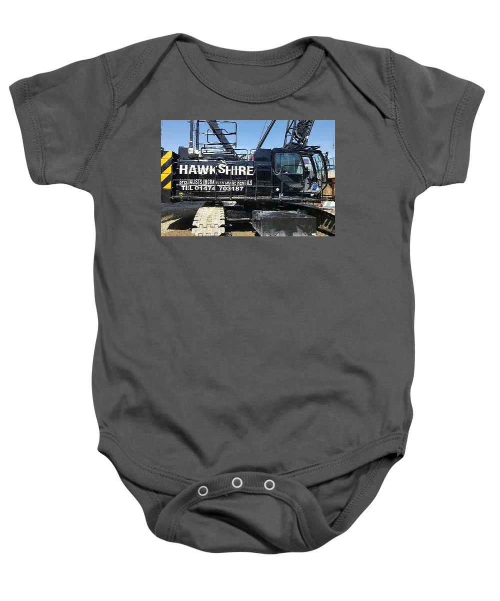 Baby Onesie featuring the digital art Crawler Crane Hire In London And Kent by Cranehirelondon Cranehirelondon