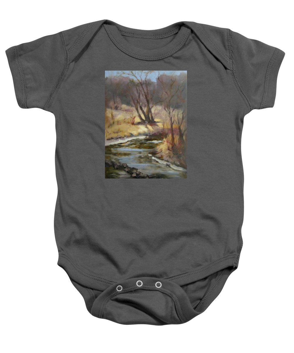 Plein Air Landscape Baby Onesie featuring the painting Credit River by Patricia Kness