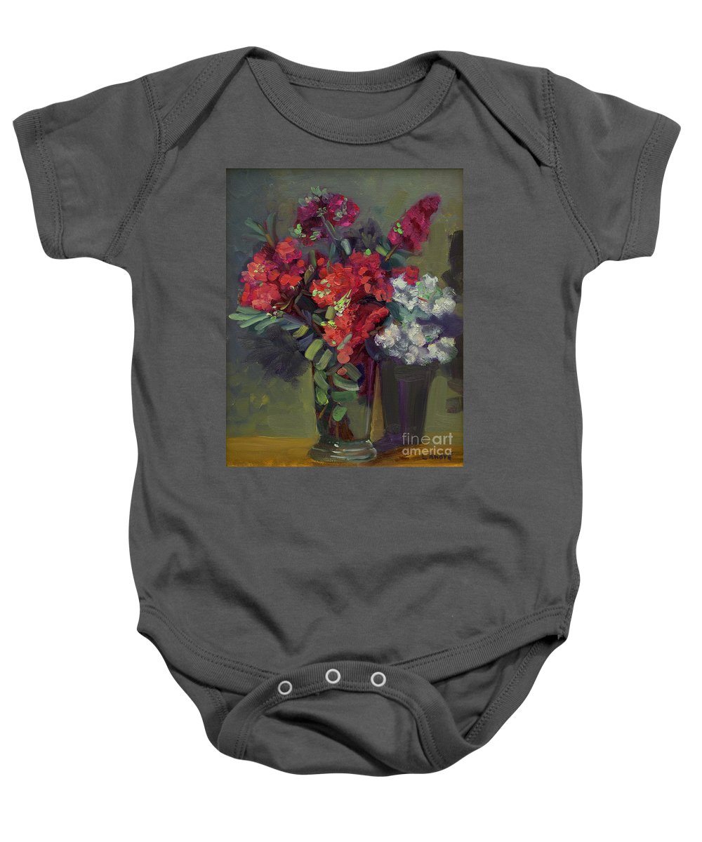Floral Baby Onesie featuring the painting Crepe Myrtles In Glass by Lilibeth Andre