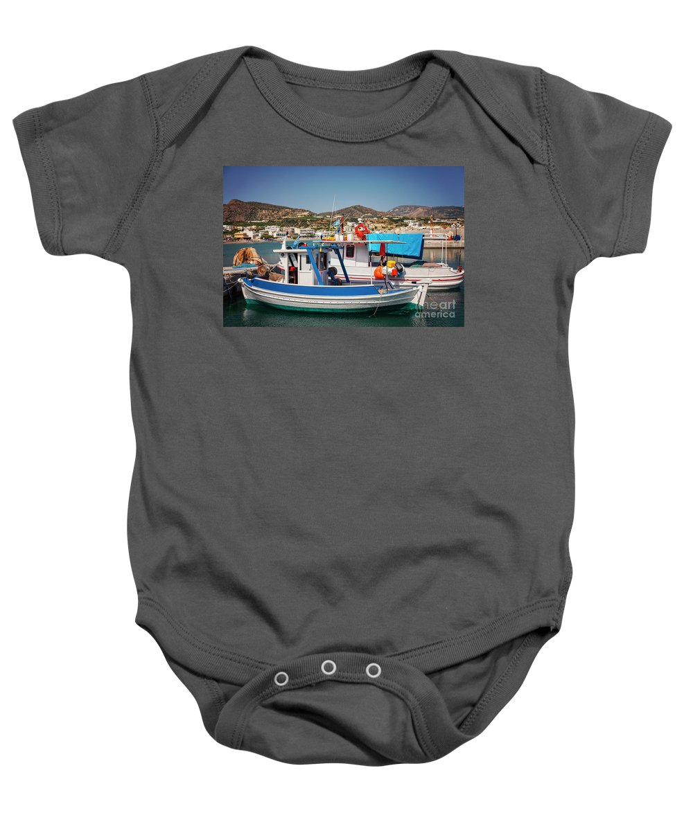 Makrigialos Baby Onesie featuring the photograph Crete Fishing Boats by Sophie McAulay