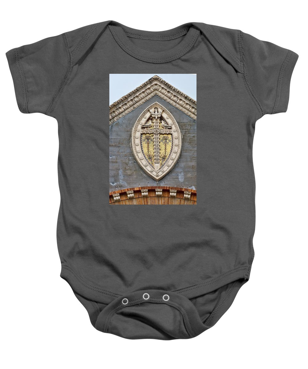 Architecture Baby Onesie featuring the photograph Cross On High by Christopher Holmes