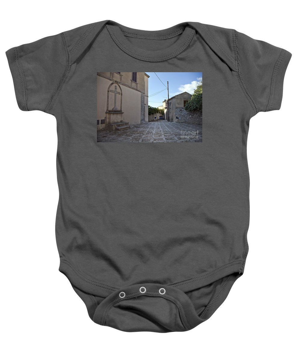 Cross Baby Onesie featuring the photograph Cross Road In Sicily by Madeline Ellis