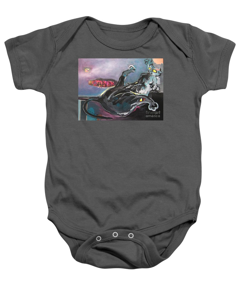 Cat Paintings Baby Onesie featuring the painting Crossed Eyed Cat by Seon-Jeong Kim