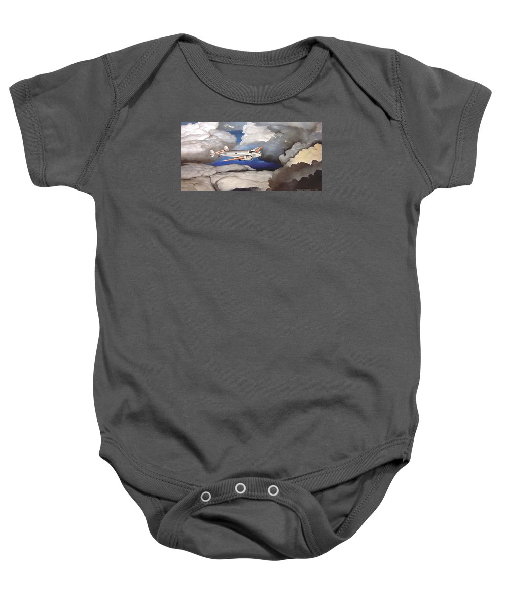 Aviation Baby Onesie featuring the painting Crossing Over Amelia Earharts Final Flight by Marc Stewart