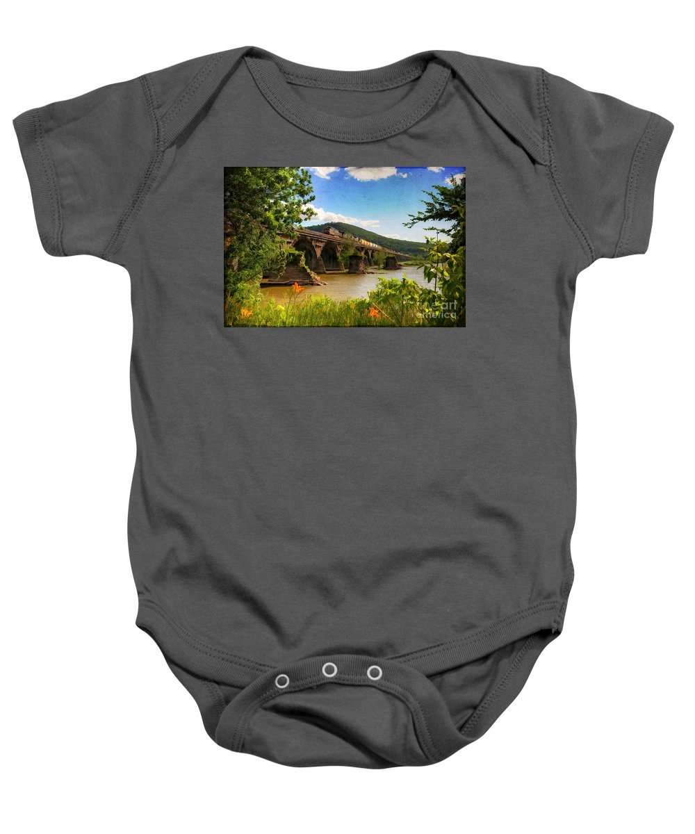 Landscape Baby Onesie featuring the photograph Crossing The Susquehanna by Lois Bryan
