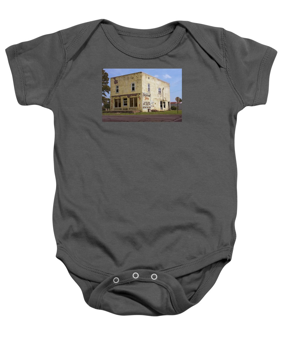 Crossroads Baby Onesie featuring the photograph Crossroad Store by Grant Groberg