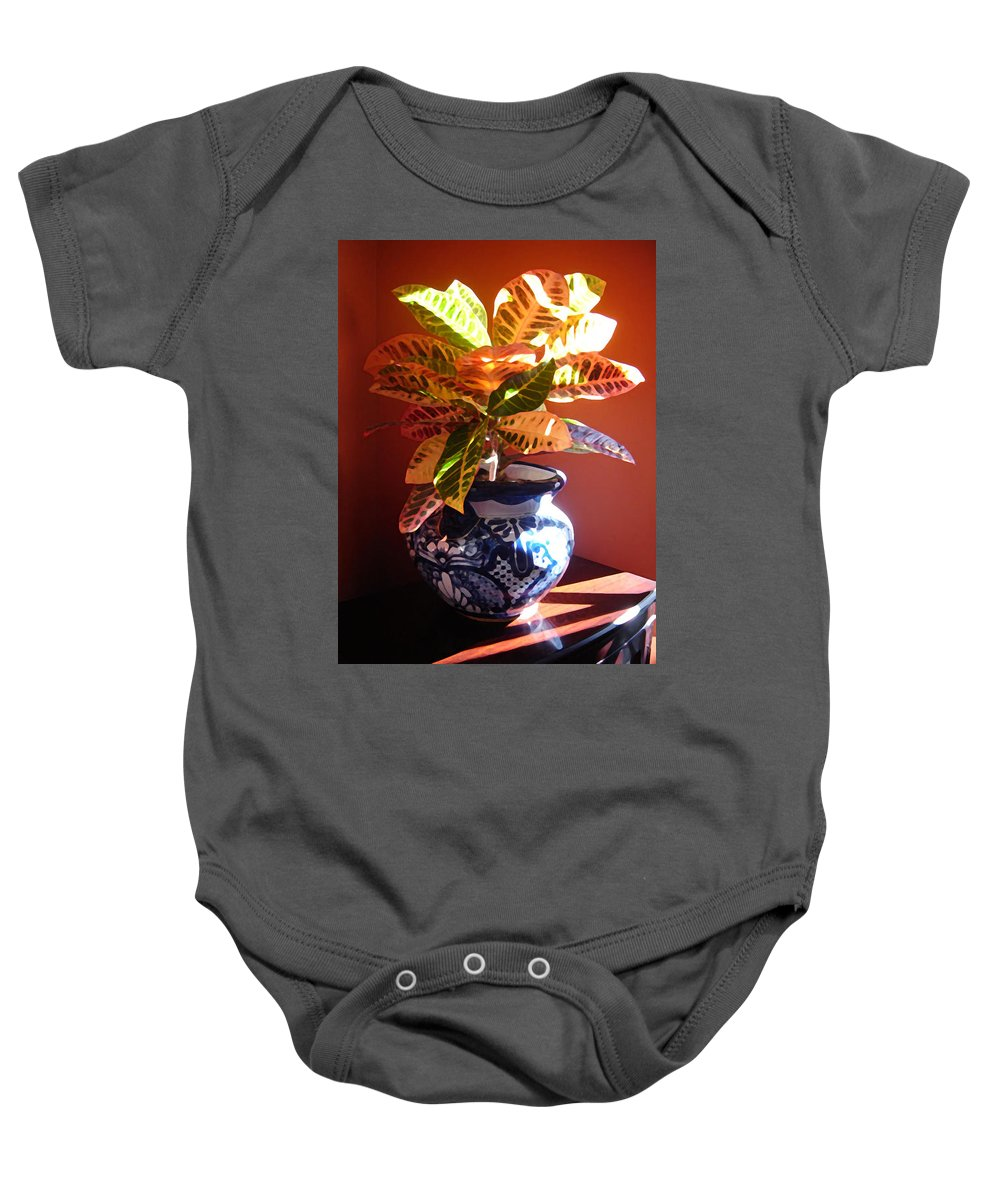 Potted Plant Baby Onesie featuring the photograph Croton In Talavera Pot by Amy Vangsgard