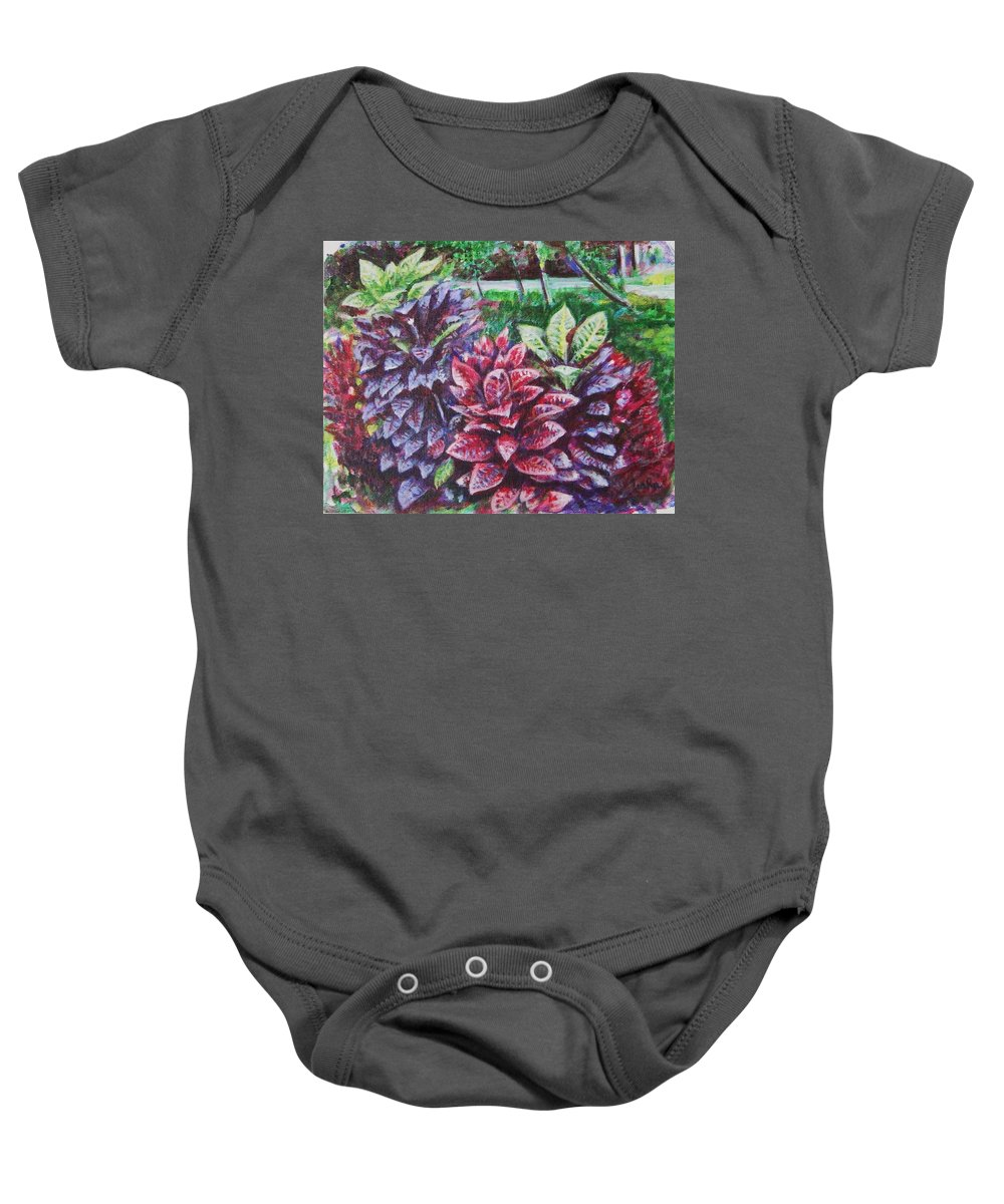 Landscape Baby Onesie featuring the painting Crotons 1 by Usha Shantharam