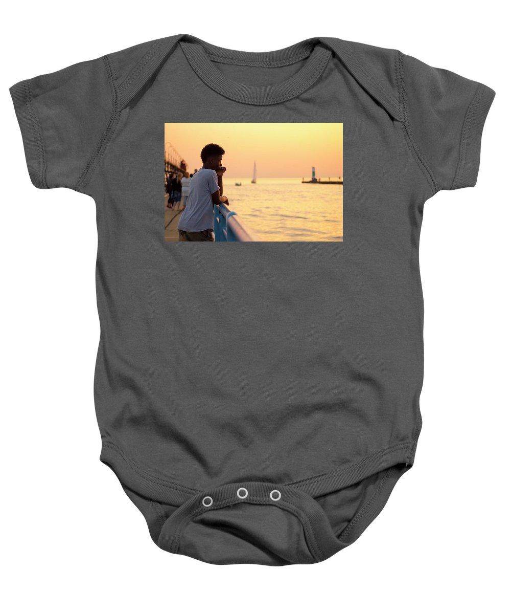 Crowd Baby Onesie featuring the photograph Crowded Canal by Tammy Chesney