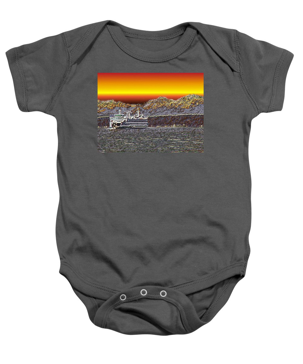 Seattle Baby Onesie featuring the photograph Cruisin The Sound by Tim Allen