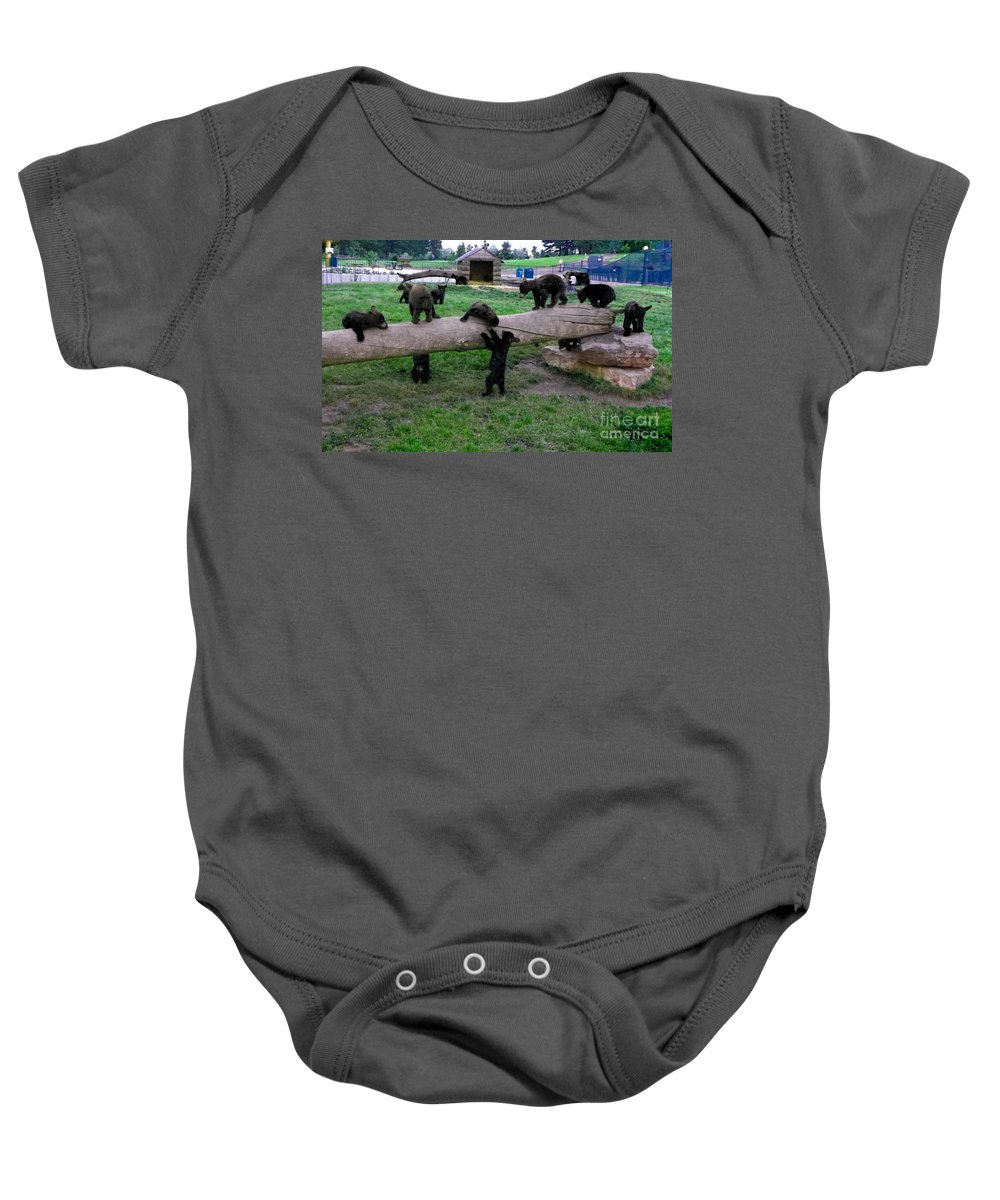 Bears Baby Onesie featuring the photograph Cubs At The Playground by Charleen Treasures