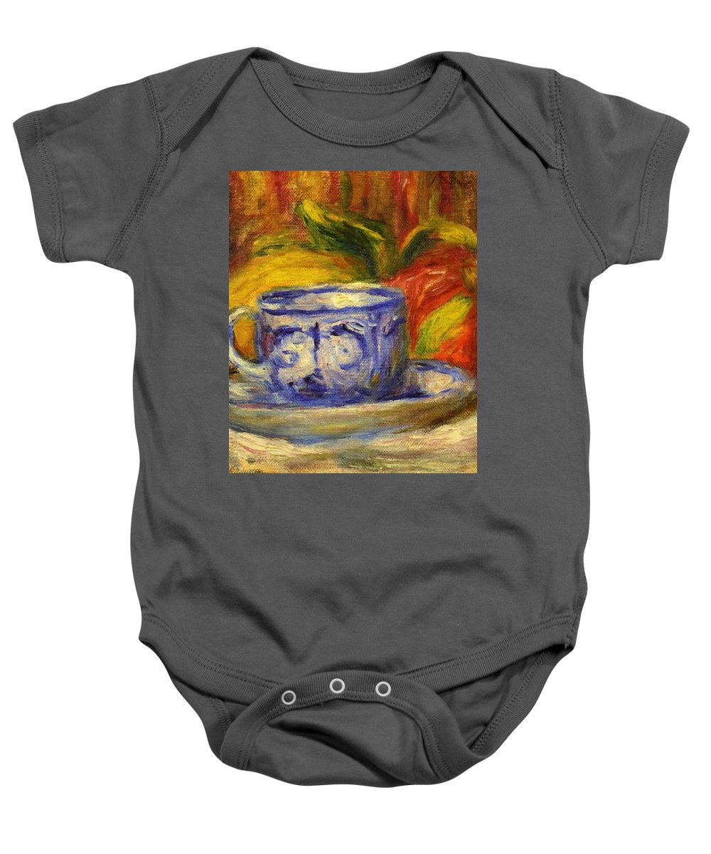 Cup Baby Onesie featuring the painting Cup And Fruit by Renoir PierreAuguste