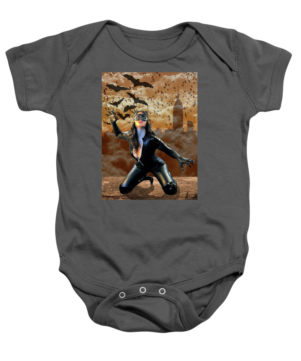 Cat Woman Baby Onesie featuring the photograph Curse Of The Cat Woman by Jon Volden